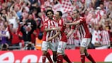 Matthew Etherington (centre) celebrates in front of England's noisiest supporters