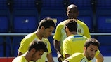 Entrenamiento del Villarreal antes del choque de vuelta ante el Oporto