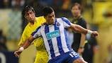 Joan Capdevila (left) tangles with Porto striker Hulk in last season's UEFA Europa League