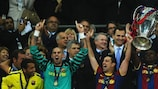 Barcelona lift the UEFA Champions League trophy at Wembley in May