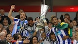 Porto celebrate with the UEFA Europa League trophy in Dublin in May