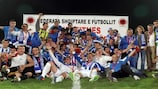 Tirana celebrate after winning the Albanian Cup final