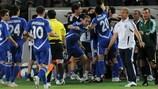 Dinamo celebrate a goal against Milsami