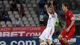 Tsvetan Genkov celebrates as Wisła Kraków take the lead against Skonto in Riga