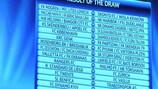 Quadro do sorteio da terceira pré-eliminatória exibido na sede da UEFA, em Nyon