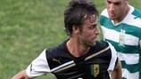 Gonzalo García in action in AEK's 8-0 win at Floriana