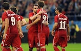 Marc Janko (second from right) is congratulated after scoring one of his two goals