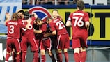 Rubin celebrate one of their two goals in the Ukrainian capital