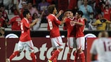 Benfica's Nicolás Gaitán (third from left) celebrates after scoring two minutes from time