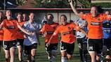 El Glasgow City celebra el 5-0 en Subotica