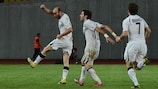 Zestafoni celebrate after scoring against Club Brugge in the first leg