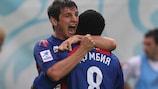 Alan Dzagoev and CSKA team-mate Seydou Doumbia celebrate a goal
