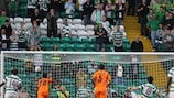 Ki Sung-Yong slots his penalty into the top left-hand corner to give Celtic the lead