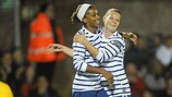 Eugénie Le Sommer (right) scored in the 2-2 draw with Brazil
