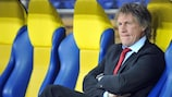 AZ coach Gertjan Verbeek pictured in his side's first meeting with Metalist