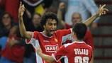 Felipe (left) celebrates scoring in Standard's 3-0 victory against FCK last time out