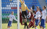 Olga Petrova's corner flies in to open the scoring for Russia against Bosnia and Herzegovina