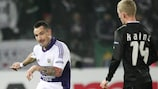 Anderlecht's Marcin Wasilewski puts an effort on the Sturm goal as his side moved onto nine points