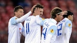 Adrian Nikci recieves the plaudits after his equaliser against Lazio