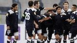 Lazio celebrate Giuseppe Sculli's opener on matchday three