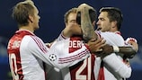 Ajax celebrate their matchday three win at Dinamo