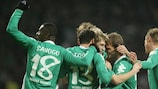 Los jugadores del Werder Bremen celebran uno de los tantos