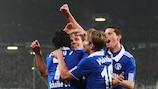 Schalke celebrate a UEFA Europa League goal