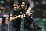 Arda Turan (right) celebrates with Diego