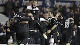 PAOK celebrate their matchday five win at Tottenham