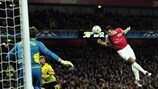 Robin van Persie scores in Arsenal's 2011 victory against Dortmund