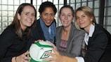 IFA women's domestic football manager Sara Booth, UEFA WFDP ambassador Steffi Jones, NIWFA chairwoman Elaine Junk and UEFA women's football development coordinator Emily Shaw
