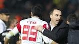 Beşiktaş coach Carlos Carvalhal celebrates with his players