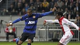 Ashley Young (left) scores United's opening goal in the first leg