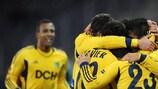 Metalist celebrate one of their three first-half goals