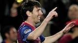 Lionel Messi celebrates after scoring against Leverkusen at the Camp Nou