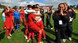Portugal celebra após bater a Bélgica por 2-1 e estrear-se na fase final