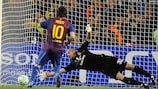 Lionel Messi converts the first of his two penalties at the Camp Nou