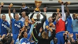 Marseille lift the French League Cup at the Stade de France