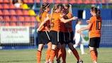 Die Niederländerinnen feiern eines ihrer vielen Tore