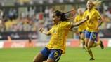 Malin Diaz festeja a vitória da Suécia na final da época passada