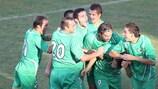 Metalurg Skopje celebrate one of two vital away goals in Malta