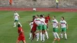 Lusitans (in white) defend a Valletta corner
