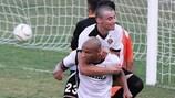Marcelo Dias festeja um dos golos no entusiasmante empate 4-4 do Hibernians com o Sarajevo