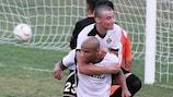 Marcelo Dias célèbre l'un des buts du Hibernians FC, qui a fait match nul 4-4 avec Sarajevo
