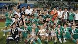 Ludogorets Razgrad celebrate their Bulgarian Super Cup success