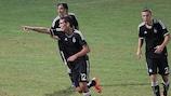 Stefan Šćepović celebrates scoring Partizan's third goal