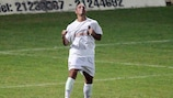 Valletta forward Michael Mifsud celebrates scoring his fourth goal