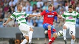 TNS duo Phil Baker & Simon Spender in action against Helsingborg at this stage last season