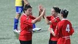Olimpia Cluj feiert seinen 8:0-Sieg gegen Birkirkara
