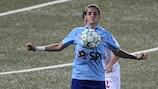 Olimpia Cluj's Cosmina Duşa in action against Glentoran Belfast United